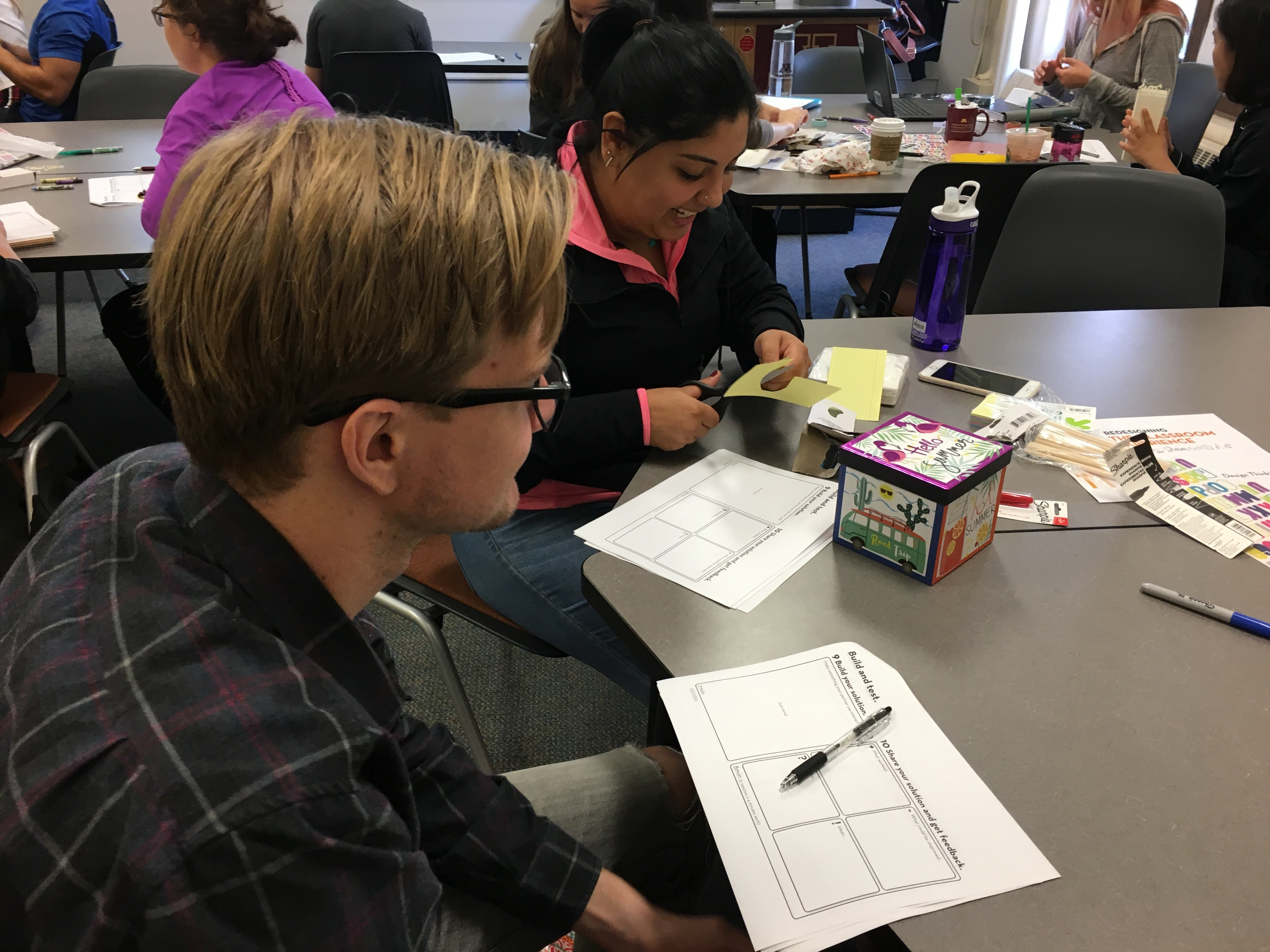A student building prototypes for their solutions.