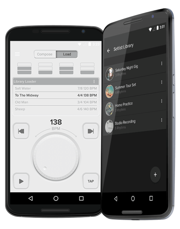 """The Metronome"" companion application showing the light and dark display themes and various features"